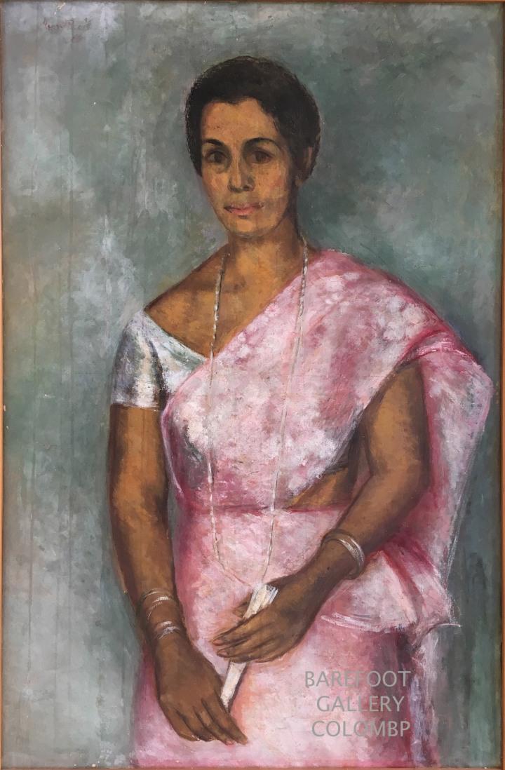 """Harry Pieris.  Portrait of Mrs A. R. Jayasekera 36"""" x 23"""" Oil on Canvas. 1966"""